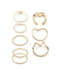 Forever 21 - Metallic Chevron Midi Ring Set - Lyst