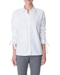 Tibi - White Oxford Dolman Tie Shirt - Lyst