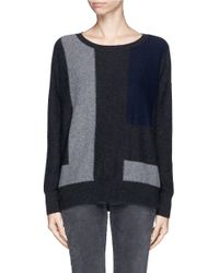 Vince - Black Colourblock Panel Cashmere Sweater - Lyst