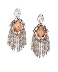 DANNIJO | Pink Allegra Crystal Fringe Drop Earrings | Lyst