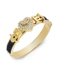 Juicy Couture | Metallic Goldtone Pave Heart Black Leather Bangle Bracelet | Lyst