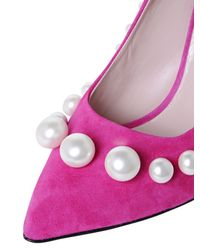 Boutique Moschino - Purple 100mm Pearl Suede Pumps - Lyst