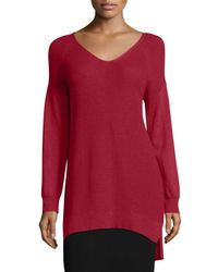 Eileen Fisher | Red V-Neck Wool Sweater | Lyst