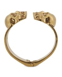 Alexander McQueen | Metallic Gold Tone Crystal Embellished Skull Bracelet | Lyst