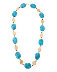 Kenneth Jay Lane - Blue Long Golden Coin & Turquoise & Coral-hue Beaded Necklace - Lyst