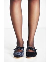 Urban Outfitters | Gray Rhonda Velvet Bow Flat | Lyst