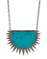 Siena Jewelry - Blue Turquoise Diamond Half Sun Pendant Necklace - Lyst