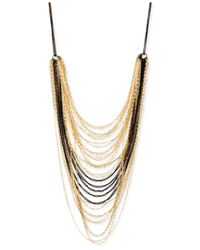 Steve Madden | Metallic Gold-Tone And Black Multi Chain Frontal Necklace | Lyst