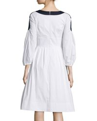 Peter Pilotto - White Full-sleeve Faux-wrap Dress - Lyst