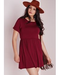 Missguided - Purple Plus Size Jersey T-shirt Skater Dress Burgundy - Lyst