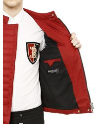 Balmain | Red Quilted Cotton Canvas Moto Down Jacket | Lyst