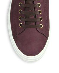 Ferragamo - Purple Pixy Shearling Hightop Sneakers - Lyst
