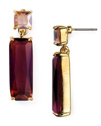 Carolee | Purple Double Stone Drop Earrings | Lyst