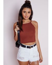 Missguided - Brown Ribbed High Neck Crop Top Terracotta - Lyst