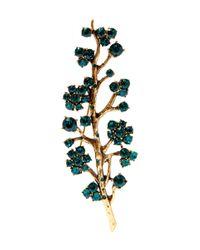 Oscar de la Renta | Green Jade Crystal Branch Brooch | Lyst
