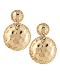 Kenneth Jay Lane | Metallic Hammered Circle Double-drop Earrings | Lyst
