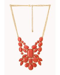 Forever 21 - Orange Statement Faux Stone Bib Necklace - Lyst