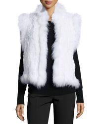 Belle Fare - White Knitted Rabbit Fur Vest W/fox Fur Trim - Lyst
