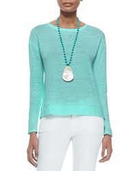 Eileen Fisher - Blue Linen Jersey Box Top - Lyst