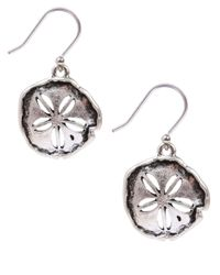 Lucky Brand - Metallic Silvertone Sand Dollar Drop Earrings - Lyst