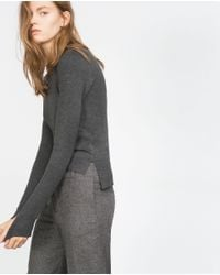 Zara | Gray Sweater With Embellished Neckline | Lyst