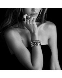 David Yurman - Chiclet Threerow Bracelet with Garnet Black Diamonds and Gold - Lyst