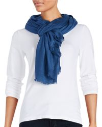 Lord & Taylor | Blue Solid Pashmina Scarf | Lyst