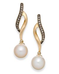 Macy's | Yellow Cultured Freshwater Pearl (8mm) And Champagne Diamond (1/10 Ct. T.w.) Earrings In 14k Gold | Lyst