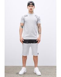 Forever 21 - Gray Sky Culture Paneled Star Print Sweatshorts for Men - Lyst