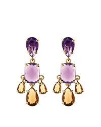 Brooks Brothers | Purple Amethyst & Topaz Earrings | Lyst