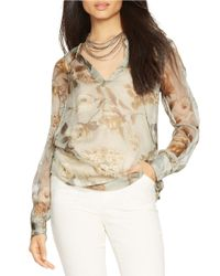 Lauren by Ralph Lauren - Gray Petite Sheer Floral Blouse And Camisole - Lyst
