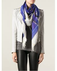 Alexander McQueen - Blue Panther Skull and Chain Print Scarf - Lyst