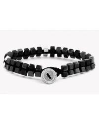Tateossian - Metallic Silver Button Double Cube Macramé Bracelet With Black Agate - Lyst