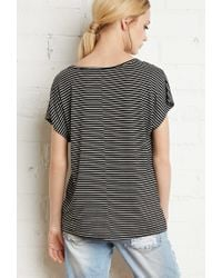 Forever 21 - Black Boxy Stripe Top - Lyst