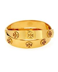 Tory Burch | Metallic Metal Logo Double-wrap Bracelet | Lyst