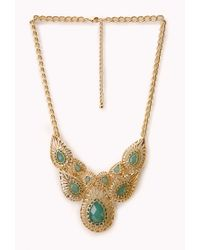 Forever 21 - Green Ornate Cutout Faux Gemstone Necklace - Lyst