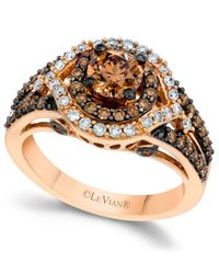 Le Vian - Brown Chocolate And White Diamond Engagement Ring In 14k Rose Gold (1-3/8 Ct. T.w.) - Lyst