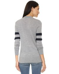 T By Alexander Wang | Gray Merino Stripe Pullover - Heather Grey | Lyst