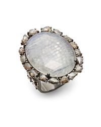 Bavna | Gray Moonstone Pavé Champagne Diamond  Blackened Sterling Silver Ring | Lyst