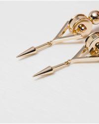 Zara | Metallic Long Geometric Earrings | Lyst