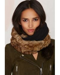 Nasty Gal | Brown Jaime Faux Fur Cable Knit Infinity Scarf - Black | Lyst