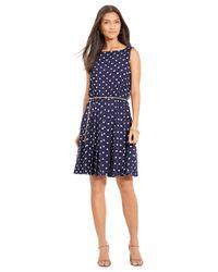 Lauren by Ralph Lauren - Blue Petite Polka Dot Fit-And-Flare Dress - Lyst