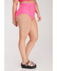 Forever 21 | Pink Ruched High-waisted Bikini Bottom | Lyst