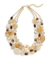 Cara | Metallic Three Row Beaded Chain Necklace | Lyst