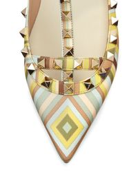 Valentino - Natural Printed Leather Rockstud Ballet Flats - Lyst