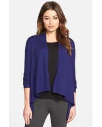 Eileen Fisher | Blue High/low Long Sleeve Merino Wool Cardigan | Lyst
