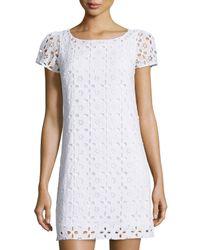 MILLY | White Chloe Eyelet Short-sleeve Dress | Lyst