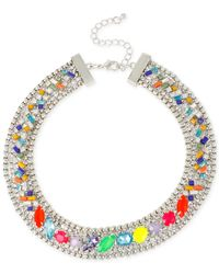 INC International Concepts - Multicolor M. Haskell For Inc Silver-tone Mixed Faceted Stone Collar Necklace - Lyst