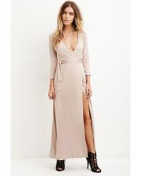 Forever 21 - Natural Maxi Wrap-waist Dress - Lyst