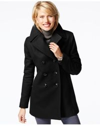 Kenneth Cole - Black Double-breasted Peacoat - Lyst